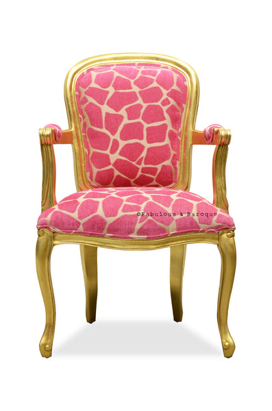 Fabulous French Upholstered Armchair - Gold & Fuchsia Giraffe