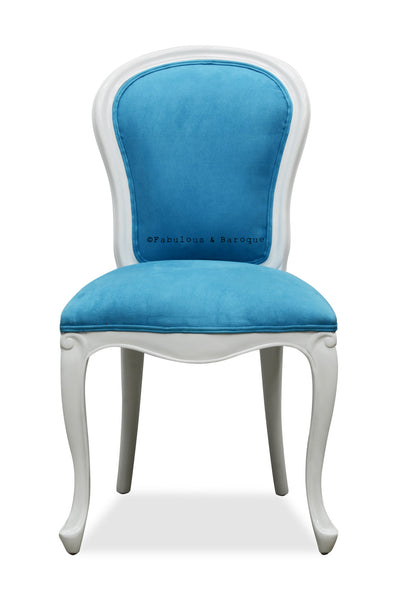 Exceptionnel Fabulous French Side Chair   White U0026 Bermuda Blue