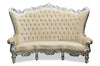 "Fabulous and Baroque's Gryphon Reine 96"" Curved Sofa - Silver Leaf & Cream Velvet"