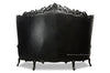 "Fabulous and Baroque's Gryphon Reine 96"" Curved Sofa - Black Leather"