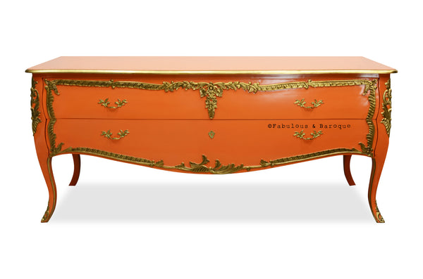 Louis XV Commode - Coral & Gold