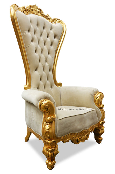 Gryphon Reine Chair - Gold & Taupe Velvet