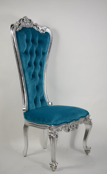 Absolom Roche Side Chair - Silver & Turquoise