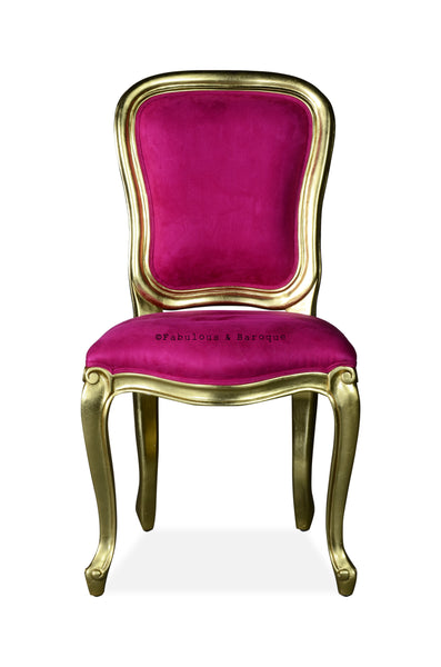 Fabulous & Baroque French Side Chair - Gold Leaf & Fuchsia