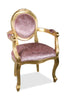 Angelique Armchair - Gold Leaf & Pink Crushed Velvet