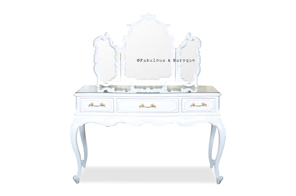 Eveline Dressing Table & Tri-Fold Mirror- White