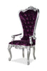 Gryphon Reine Arm Chair - Silver & Purple Crushed Velvet