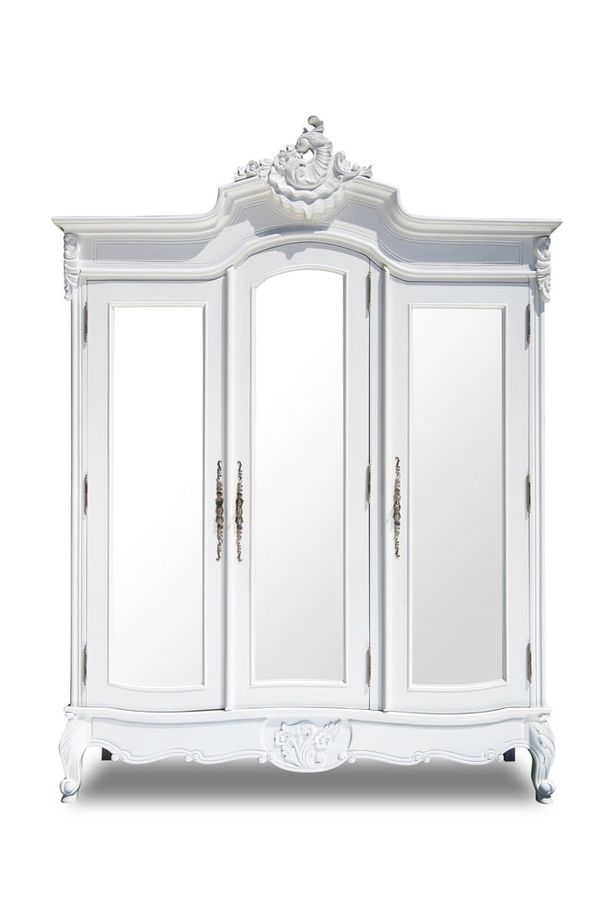 Abigail 3 Door Mirrored Armoire   White
