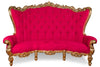 "Fabulous and Baroque's Gryphon Reine 96"" Curved Sofa - Gold Leaf & Fuschia Faux Suede"
