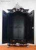 Emmanuelle 2 Door Mirrored Armoire - Black & Silver Leaf