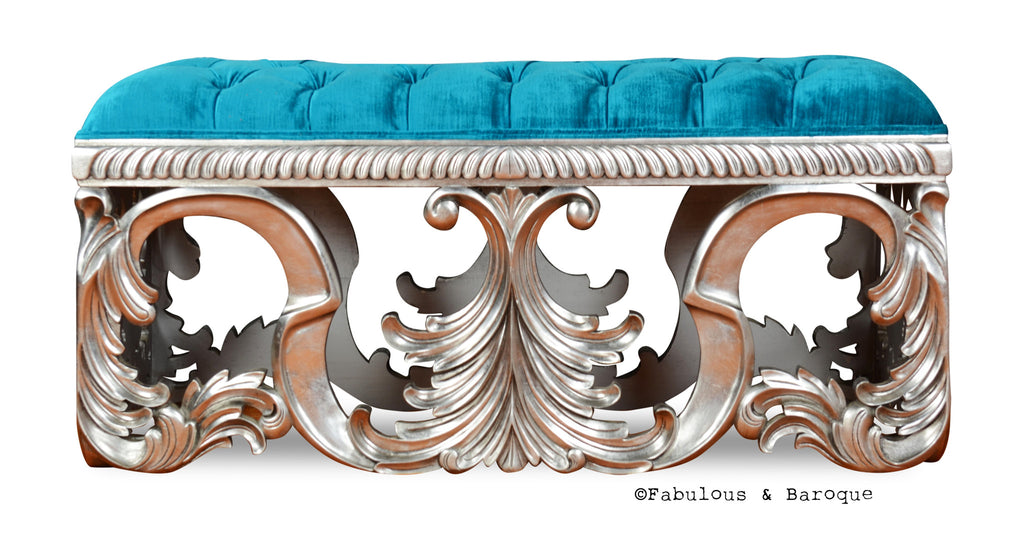 Simone Bench - Turquoise & Silver