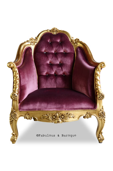 Violette Chair - Gold & Aubergine