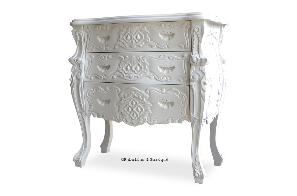 Fabulous & Rococo 3 Drawer Chest - White Lacquer