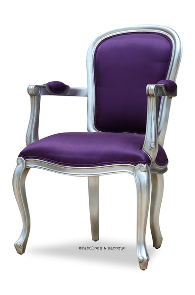 Fabulous & Baroque's French Upholstered Armchair - Silver Leaf & Aubergine Silk