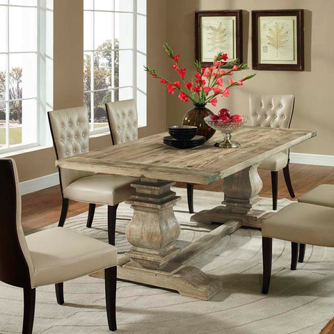 COLUMN RECTANGLE WOOD DINING TABLE