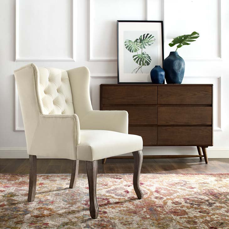 Realm French Vintage Velvet Dining Armchair
