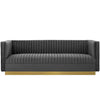 Sanguine Vertical Channel Tufted Velvet Sofa *Available in Blush & Grey