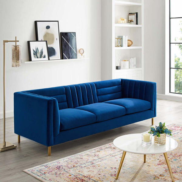 Ingenuity Channel Tufted Performance Velvet Sofa  * Available in Light Blue & Navy