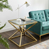 "Point 25.5"" Brushed Gold Metal Side Table"