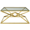 "Point 39.5"" Brushed Gold Metal Coffee Table"