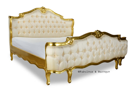 Elise French Upholstered Bed - Gold Leaf