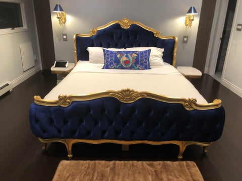 Elise French Upholstered Bed - Sapphire Blue & Gold - Client Photo