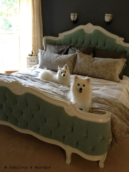 Elise French Upholstered Bed White Client Photo