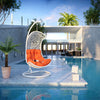 Endow Outdoor Lounge Swing w/ stand - White w/ orange cushion