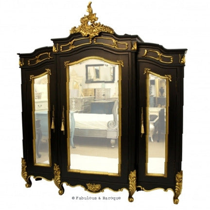 Micheline 3 Door Mirrored Armoire - Black & Gold Leaf