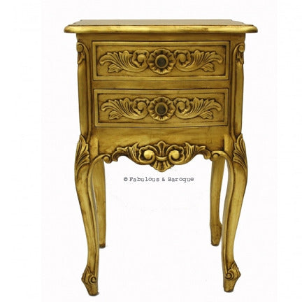 Cosette 2 Drawer Side Table - Gold Leaf