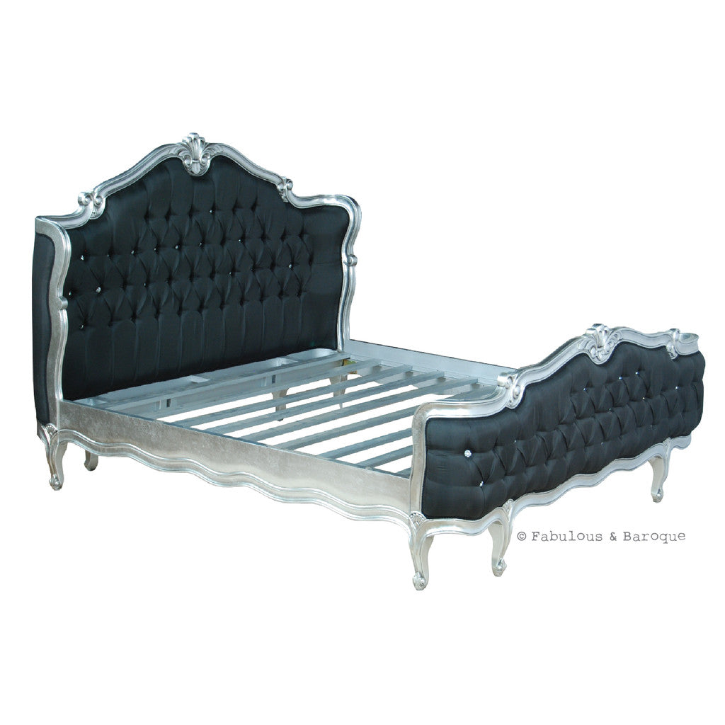 French baroque furniture - Elise French Upholstered Bed Silver Leaf