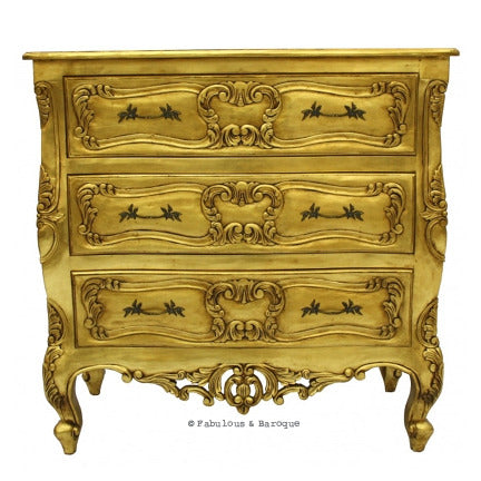 Josette 3 Drawer Carved Chest -Gold Leaf