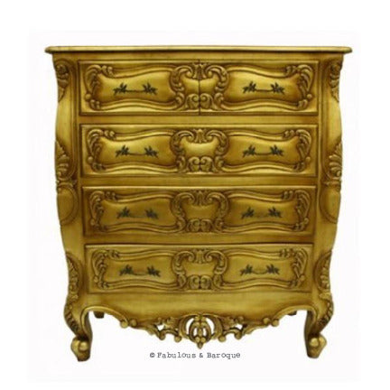 Josette 5 Drawer Carved Chest- Gold Leaf