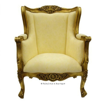 Aveline French Wing Back Chair - Gold Leaf
