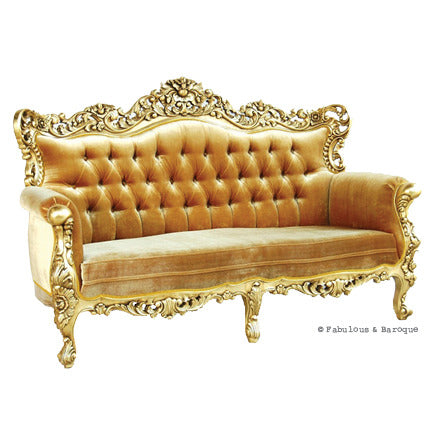 Belle de Fleur French Love Seat - Gold