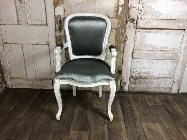 Fab French Upholstered Armchair - White lacquer & Charcoal velvet
