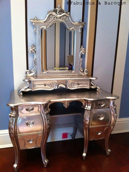 Fabulous & Rococo Dressing Table - Silver Leaf- Client Photo