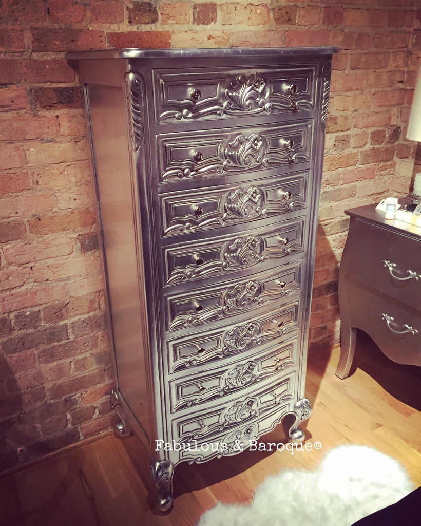 Custom Frederique 8 Drawer Accessory Chest - Silver Leaf w/ Black Glaze - Client Photo