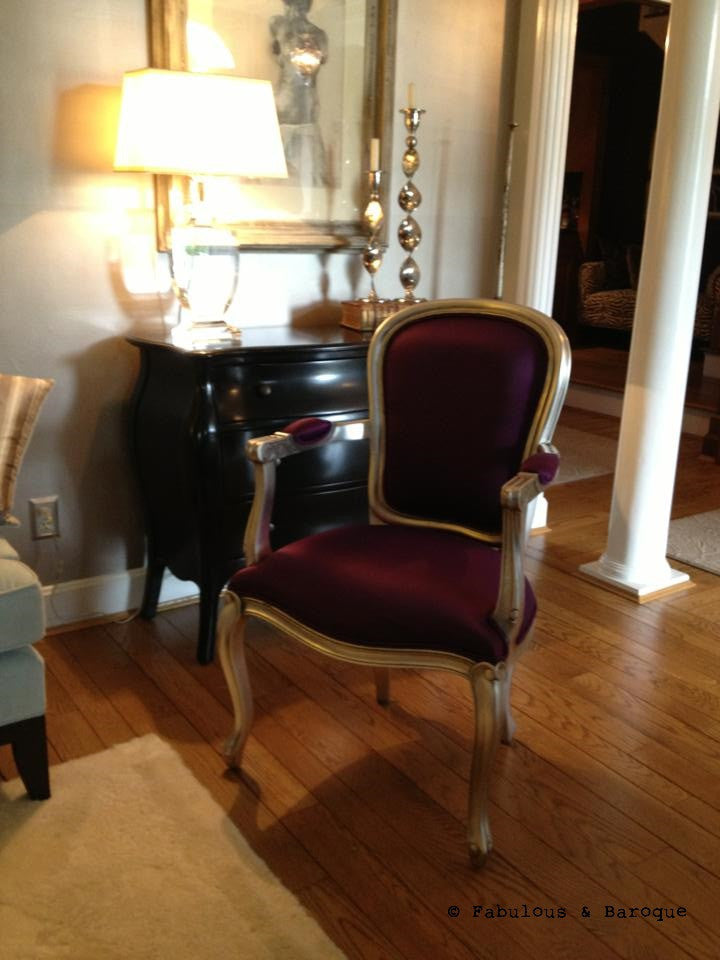 Fabulous & Baroque's French Upholstered Armchair - Silver Leaf & Aubergine Silk - Client Photo