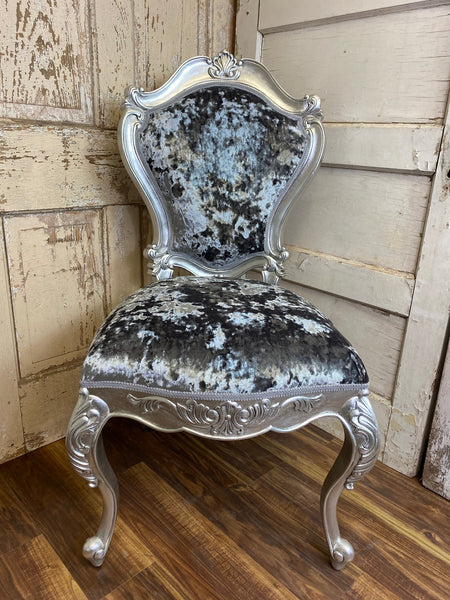 Versailles Side Chair - Silver leaf & Crushed Silver Velvet