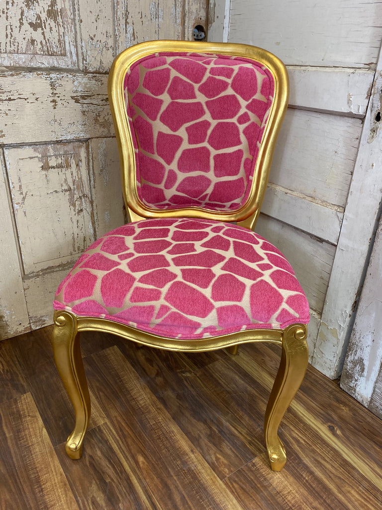 Fabulous French Upholstered Chair - Gold & Fuchsia Giraffe