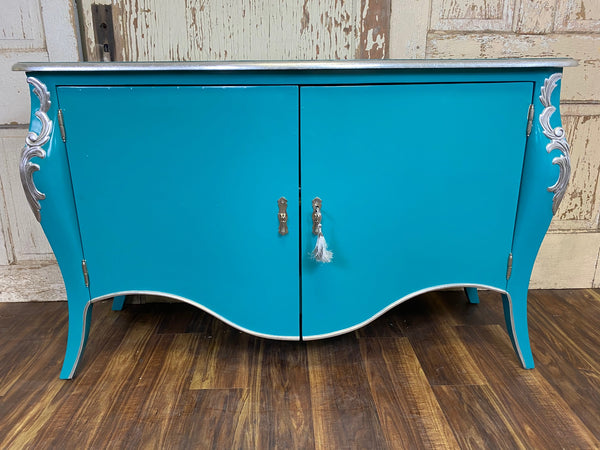 Everly French Sideboard - Teal Blue & Silver