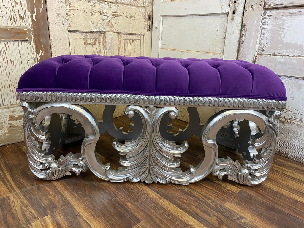 Simone Bench - Silver & Diamante Purple