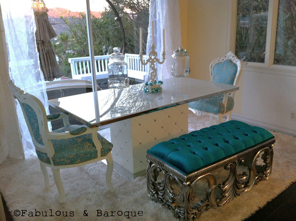 Simone Baroque Bench - Turquoise & Silver - Client Photo