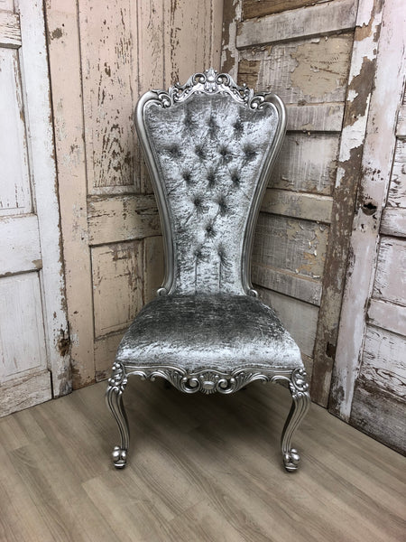 Gryphon Reine Side Chair - Silver & Silver Crushed Velvet