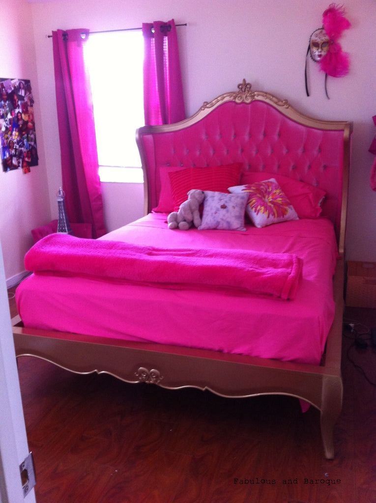 Amelie Tufted Pink Upholstered Bed - Gold Leaf - Client Photo