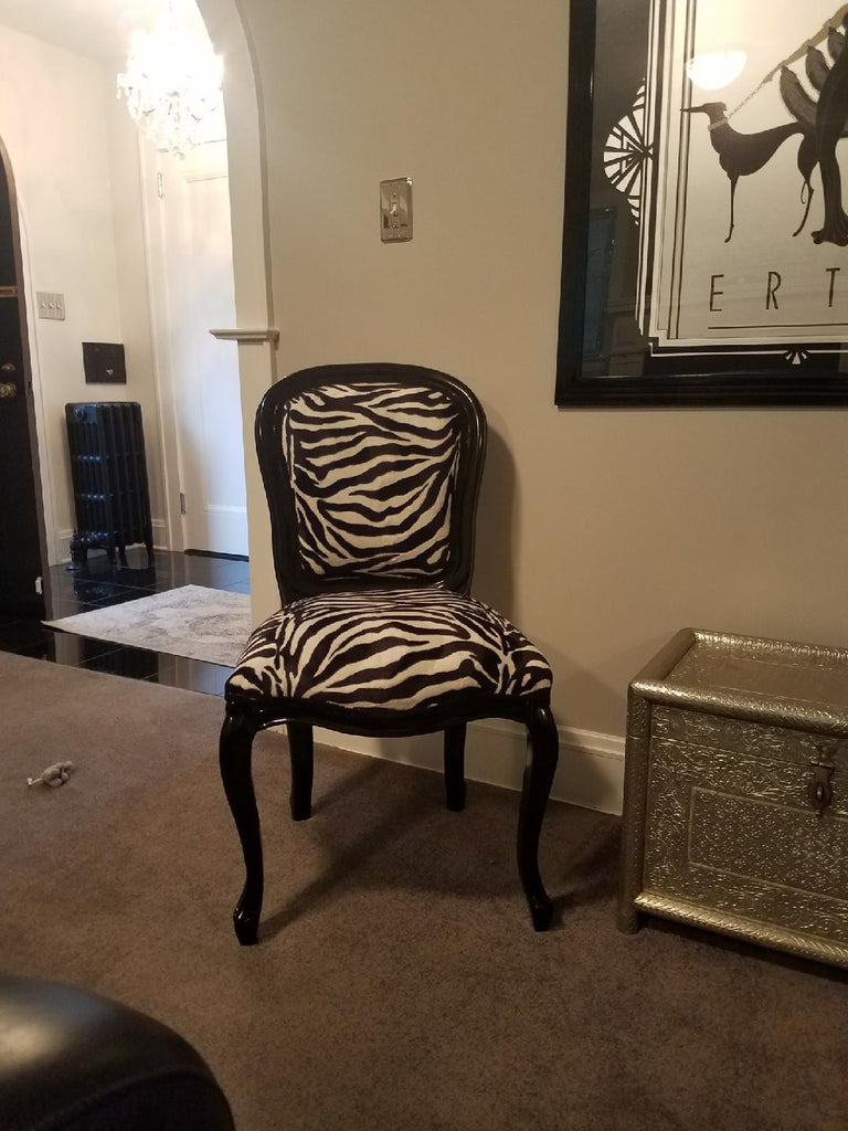 Fabulous French Side Chair - Black & Tiger Velvet - Photo Client