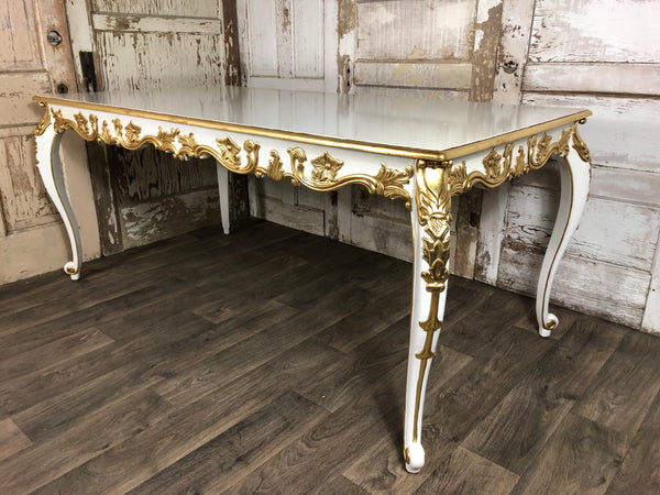Versailles 6' Dining Table - White & Gold