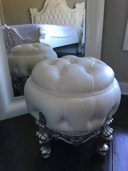 Absolom Roche Dressing Table Pouf Chair - Silver & White - Client Photo