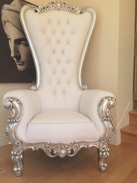 Gryphon Reine Chair - Silver & White Leatherette - Client Photo